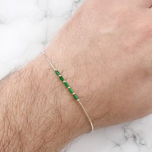 Jewelry - 💚💚Sterling Silver and Green Bead Bracelet